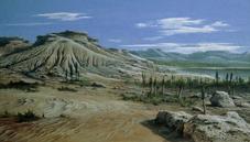 Artist's impression of Triassic period landscape.