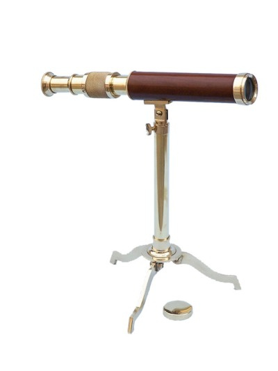1148-nautical-brass-telescope-on-stand-10inch-wood-0