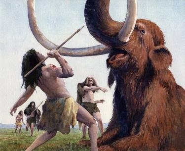 Neanderthal-killing-a-Mammoth